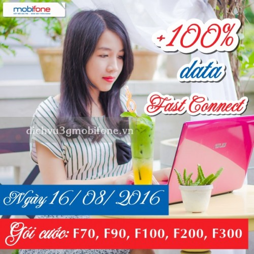 Mobifone tặng 100% data 3G Fast Connect ngày 16/8